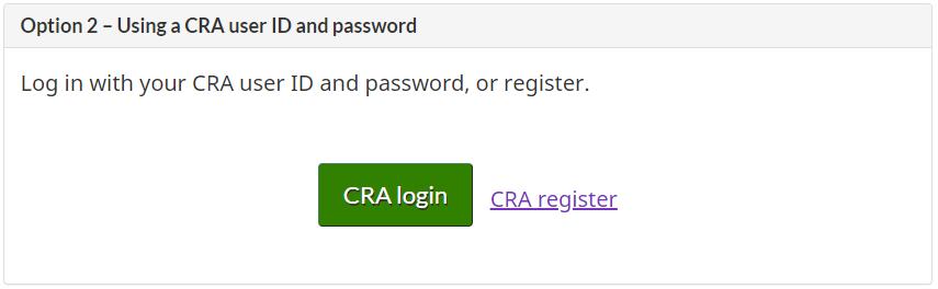 CRA MyAccount Register